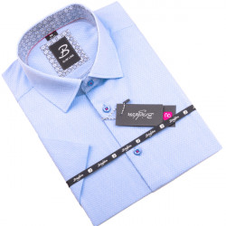 Modrobiela pánska košeľa krátky rukáv vypasovaný strih Brighton 109818