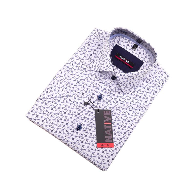8d780c5feaae Biela pánska košeľa s krátkym rukávom Native 120304