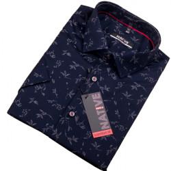 Modrá pánska košeľa s krátkym rukávom Native 120307