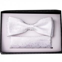 Biely svadobný motýlik s vreckovkou Assante 90202