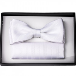 Biely svadobný motýlik s vreckovkou Assante 90203