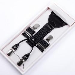 Luxusné čiernobiele traky kožená pútka Assante 90046