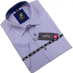 Modrobiela pánska košeľa krátky rukáv vypasovaný strih Brighton 109820