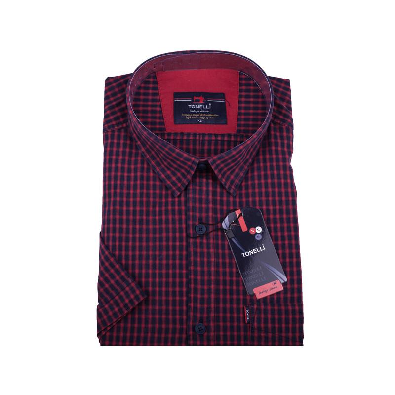 9755eea35823 Červená pánska košeľa krátky rukáv Tonelli 110807