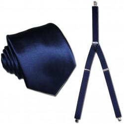 Traky a kravata modrá súprava Assante 504