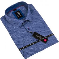 Modrá pánska košeľa krátky rukáv vypasovaný strih Brighton 109818
