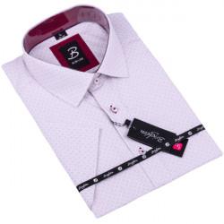 Šedofialová pánska košeľa krátky rukáv vypasovaný strih Brighton 109819