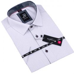 Šedá pánska košeľa krátky rukáv vypasovaný strih Brighton 109822
