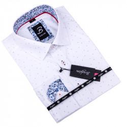 Biela košeľa s modrým vzorom pánska slim fit Brighton 109901