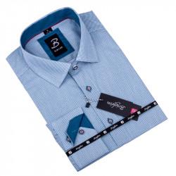 Biela s modrým vzorom pánska košeľa slim fit Brighton 109902
