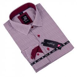 Biela s červeným vzorom pánska košeľa slim fit Brighton 109909