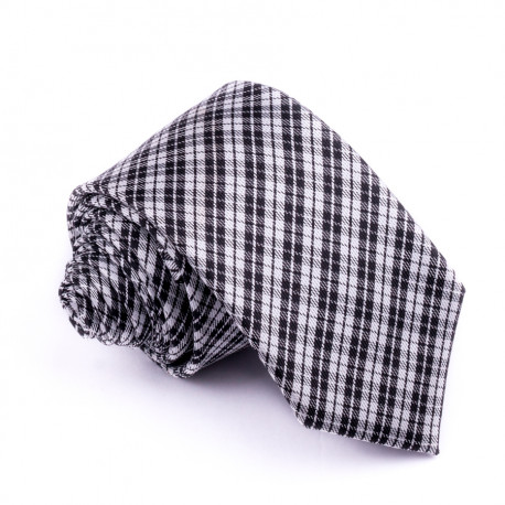 Slim sivá kravata káro Greg 99036