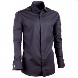 Čierna pánska košeľa na manžetový gombík Assante vypasovaná 30149