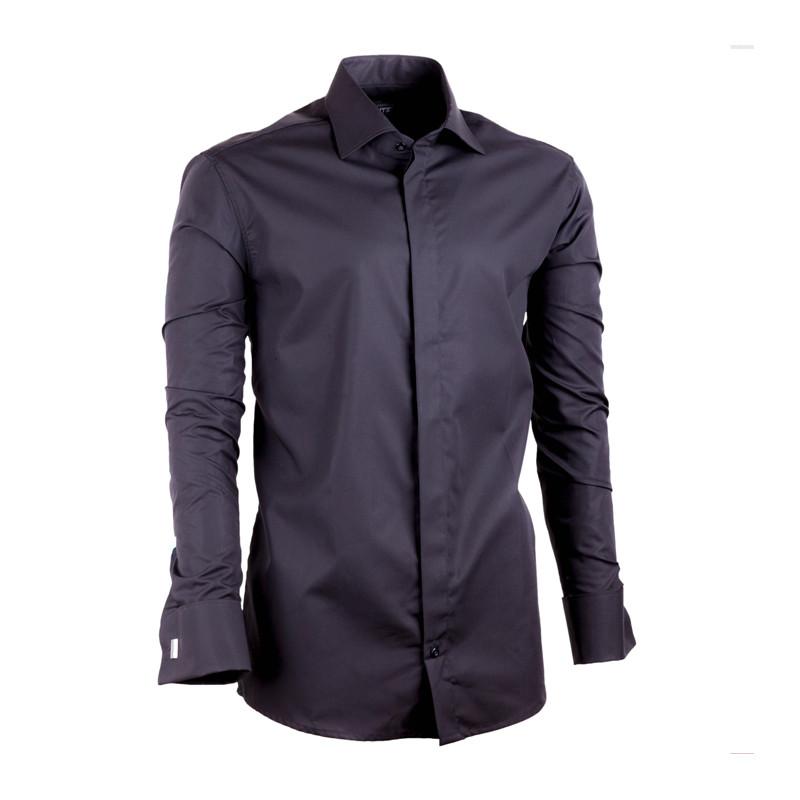 75fb536ae693 Čierna pánska košeľa na manžetový gombík Assante vypasovaná 30149 ...