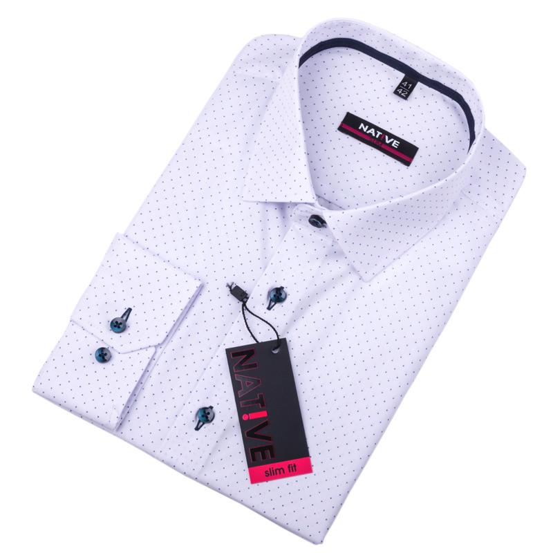 af064aaa665e Biela pánska košeľa vypasovaný strih Native 120011