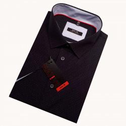 Čierna pánska košeľa s krátkym rukávom rovná 40102