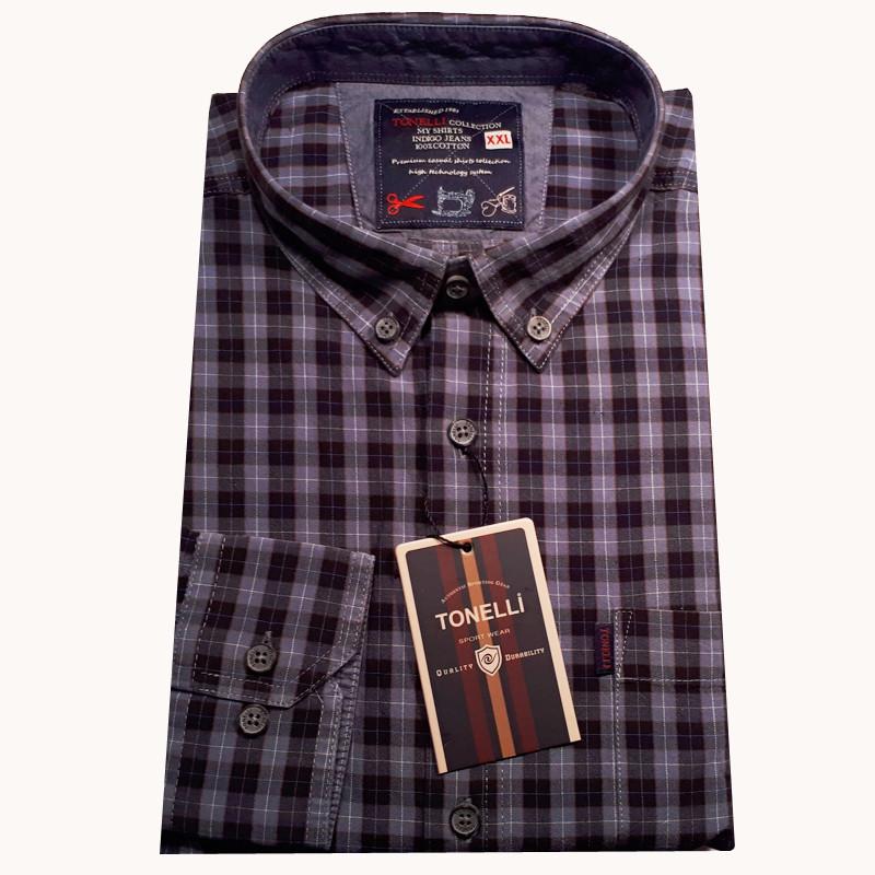 b239c9c7a55e Modrá pánské košile dlouhý rukáv rovný střih Tonelli 110934