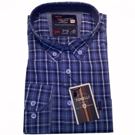 4003cccf55db Modrá pánska košeľa dlhý rukáv rovný strih Tonelli 110935