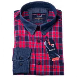 Červenomodrá košeľa 100% bavlna Tonelli 110962