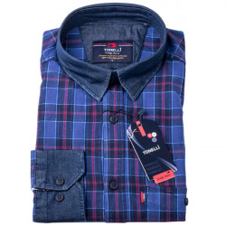 Modrovínová káro košeľa 100% bavlna Tonelli 110965