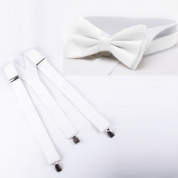 Súprava traky a motýlik biela Assante 511