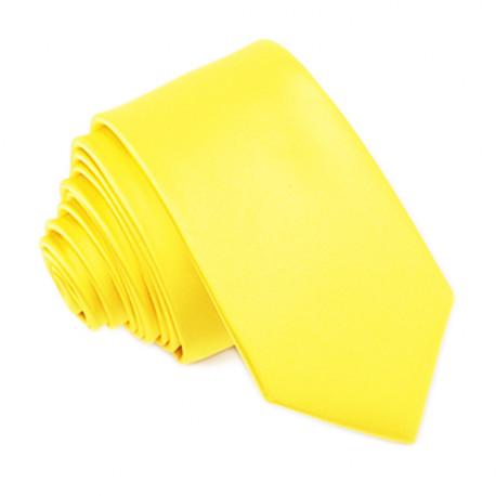 Jasne žltá svadobná kravata slim Greg 99194