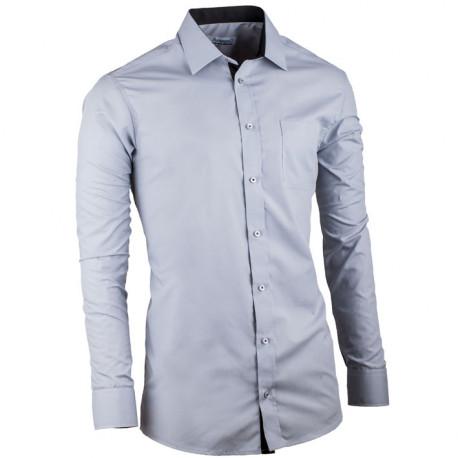 Sivá pánska košeľa s dlhým rukávom slim fit Aramgad 30182