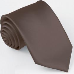 Tmavo hnedá kravata jednofarebná Greg 99923