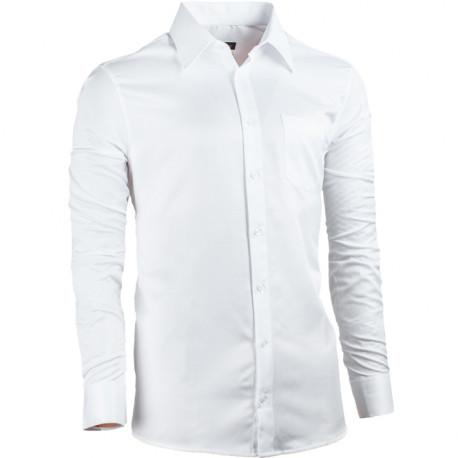 Biela pánska košeľa s dlhým rukávom rovná Assante 30024