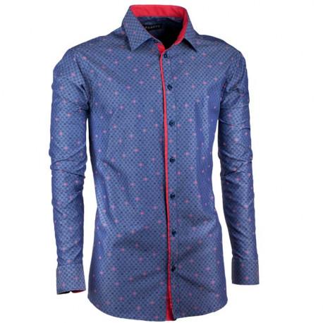 Predĺžená pánska košeľa slim modro červená Assante 20795