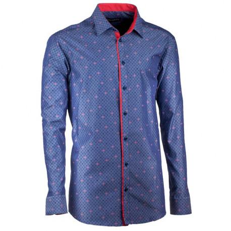 Predĺžená pánska košeľa rovná modro červená Assante 20796