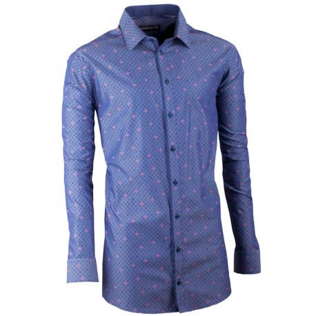 Predĺžená pánska košeľa slim modro modrá Assante 20797