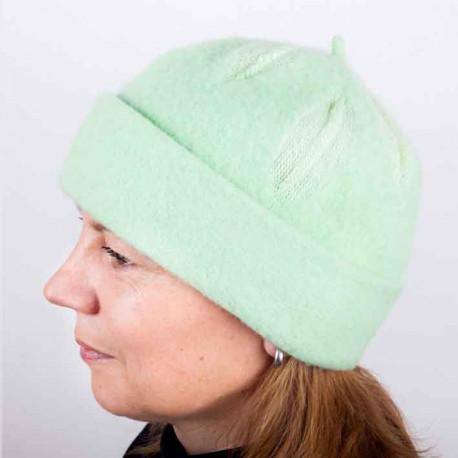 Zelená dámska módna čiapka z čistej vlny TONAK 87300